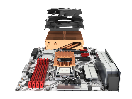 Motherboard complete with processor and cooling system in disassembled form isolated on white background 3d render without shadow