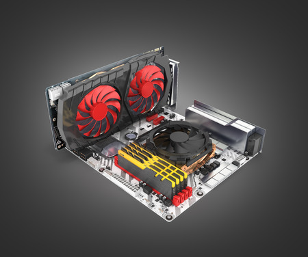 Motherboard complete with RAM and video card solated on black gradient background 3d render
