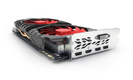Video Graphic card GPU isolated on white background 3d render Фото со стока