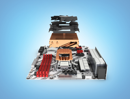 Motherboard complete with processor and cooling system in disassembled form isolated on blue gradient background 3d render Stock Photo