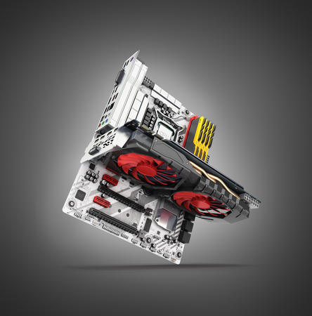 Motherboard complete with СPU RAM and video card solated on black gradient background 3d render