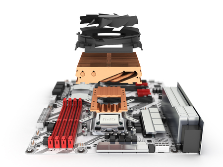 Motherboard complete with processor and cooling system in disassembled form isolated on white background 3d render with blur