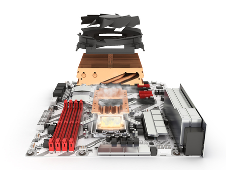 Simulation of CPU overheating Motherboard complete with processor and cooling system solated on white background 3d render Фото со стока