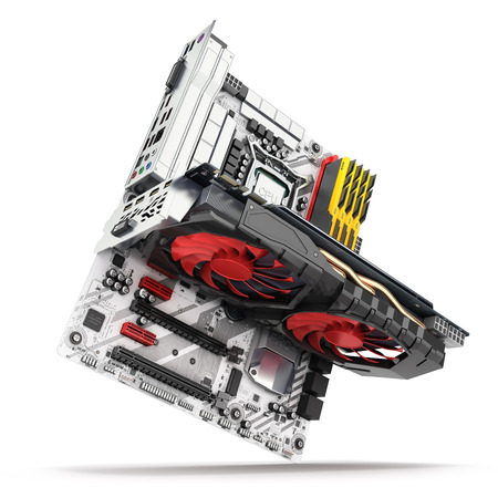 Motherboard complete with �¡PU RAM and video card solated on white background 3d render Banco de Imagens