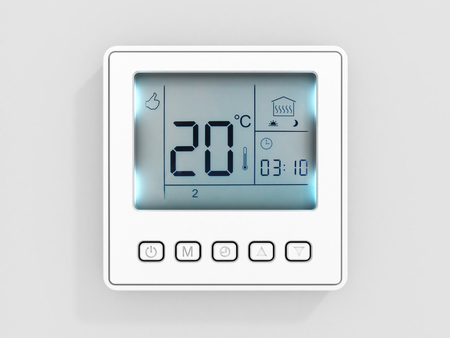 Digital programmable thermostat isolated on white background 3d render Фото со стока