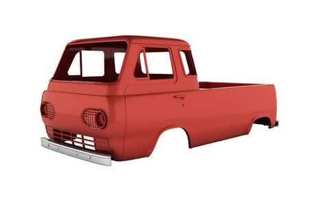 Karosserie Van ohne Rad auf weißem Hintergrund 3d ohne Schatten Standard-Bild