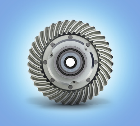 The differential gear on white blue gradient background 3d illustration