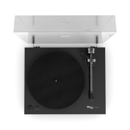 Vinyl turntable player isolated on white background 3d view from above