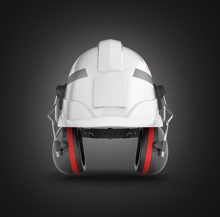Halmet de seguridad de casco con orejeras aisladas sobre fondo negro degradado 3d