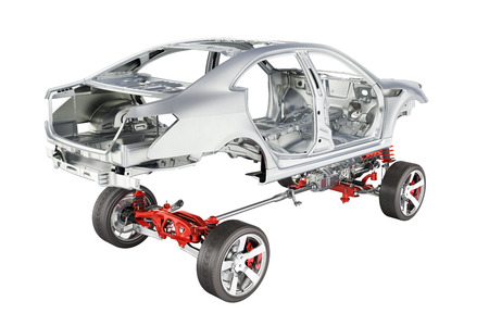 Body and suspension of the car with wheel and engine Undercarriage with bodycar in detail isolated on white background 3d without shadow