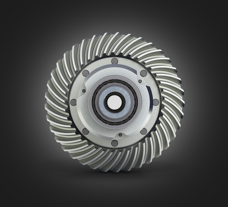 The differential gear on white black gradient background 3d illustration