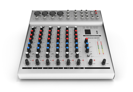 Hand adjusting audio mixer isolated on white background 3d render