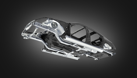 Carbon body car with metal elements isolated on black gradient background 3d illustration
