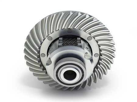 The differential gear on white background 3d illustration