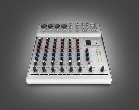 Hand adjusting audio mixer isolated on gray gradeint background 3d render