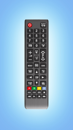 TV Remote control isolated on blue gradient background 3d render