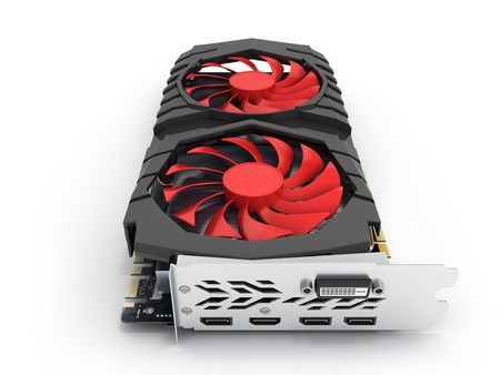 Video Graphic card GPU isolated on white background 3d render Standard-Bild