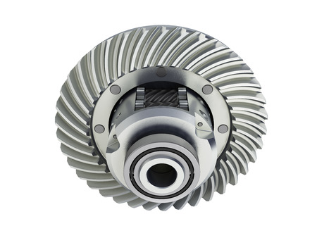 The differential gear on white background 3d illustration without shadow