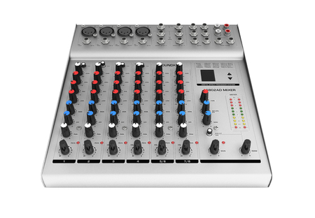 Hand adjusting audio mixer isolated on white background 3d render without shadow