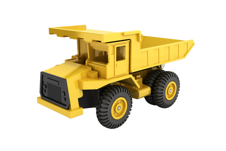 Yellow toy dump truck isolated on white background 3d render without shadow