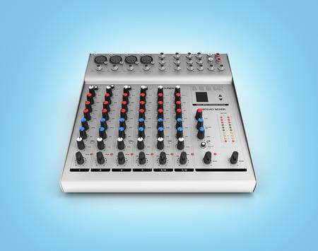 Hand adjusting audio mixer isolated on blue gradeint background 3d render