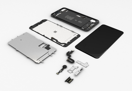 Flat Lay of smartphone components on white background 3d ilustration Banco de Imagens