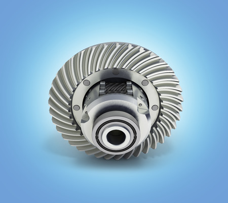 The differential gear on blue gradient background 3d illustration