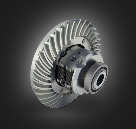 The differential gear on black gradient background 3d illustration