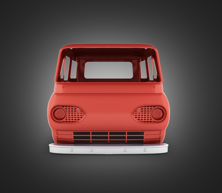 body van with no wheel isolated on black gradient background 3d front view Stockfoto