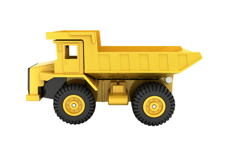 Yellow toy dump truck isolated on white background 3d render without shadow Stock Photo