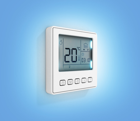 Digital programmable thermostat isolated on blue gradient background 3d render