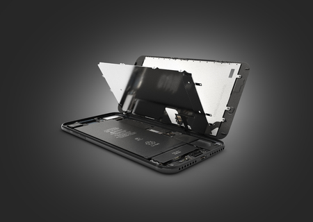 Smartphone in the open state Illustration of smartphone components isolated on black gradient background 3d render