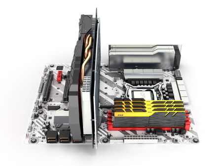 Motherboard complete with RAM and video card isolated on white background 3d render 写真素材