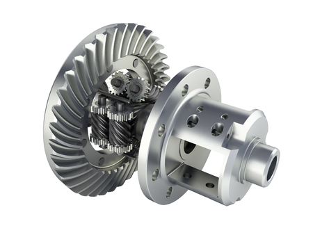 The differential gear in detal on white background 3d illustration without shadow
