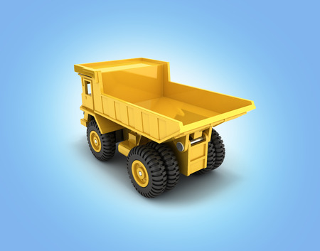 Yellow toy dump truck isolated on blue gradient background 3d render Stock Photo