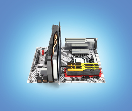 Motherboard complete with RAM and video card isolated on blue gradient background 3d render