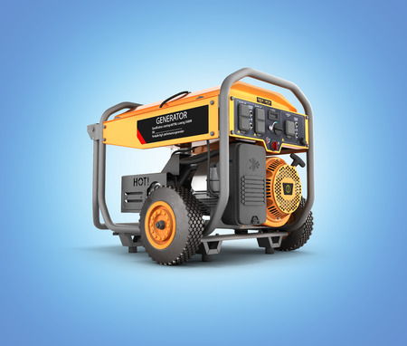 Portable gasoline generator isolated on a blue gradient background 3d render Imagens