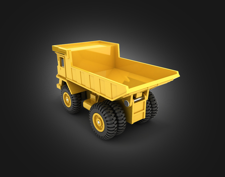 Yellow toy dump truck isolated on black gradient background 3d render