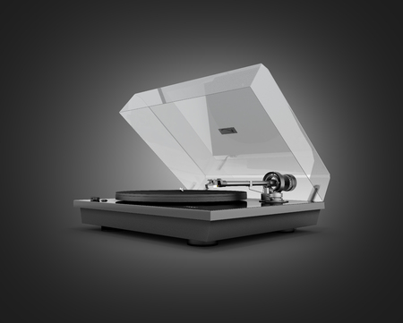 Vinyl turntable player isolated on black gradient background 3d