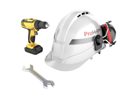 Illustration of construction and repair equipment Protective helmet and screwdriver with a wrench isolated on white background 3d render without shadow