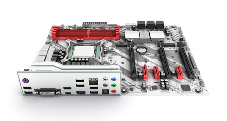 Motherboard with realistic chips and slots isolated on white background 3d render Фото со стока