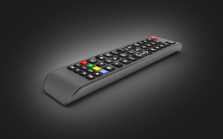 TV Remote control isolated on black gradient background 3d render Фото со стока