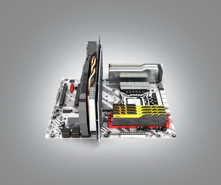 Motherboard complete with RAM and video card isolated on gray gradient background 3d render Фото со стока