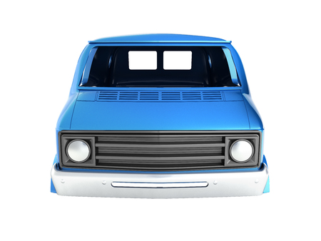 body van with no wheel isolated on white background 3d front view without shadow Stock Photo