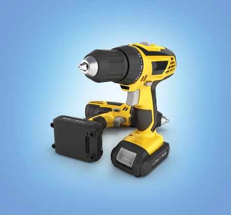 Cordless screwdriver with a drill isolated on blue gradient background 3d