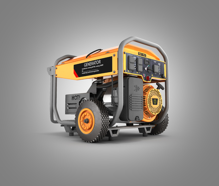 Portable gasoline generator isolated on a gray gradient background 3d render