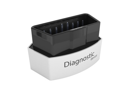 OBD2 wireless car scanner isolated on white background 3d illustration without shadow Stock Photo