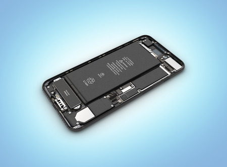 Smartphone in the open state Smartphone components assembly isolated on blue gradient background 3d illustration