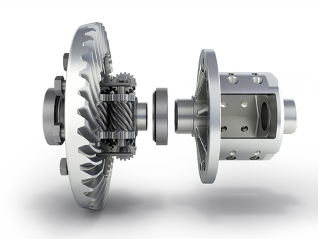 The differential gear in detal on white background 3d illustration Zdjęcie Seryjne