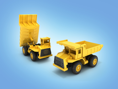 Yellow toy dump truck isolated on blue gradient background 3d render